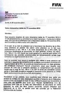 Le fax de la FIFA qui confirme le Cameroun ira au mondial 2014